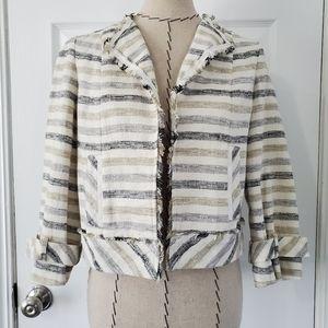 Worth Linen Cotton Striped Fringe Blazer